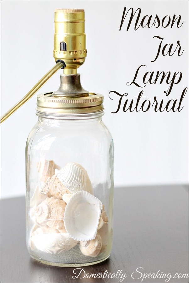 Mason Jar Lamp Tutorial bu Domestically Speaking