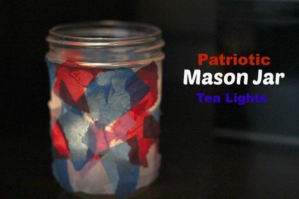 Patiotic Mason Jar Tea Lights from My Crafty Spot