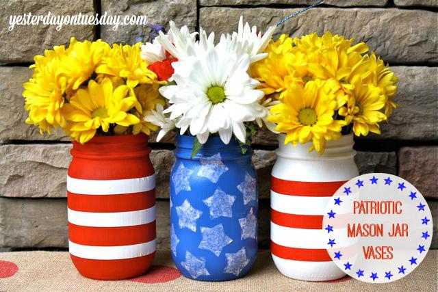Patriotic Mason Jar Vases