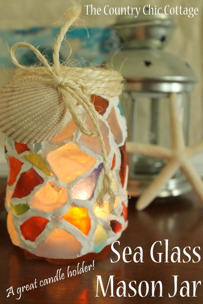 Sea Glass Mason Jar by The Country Chic Cottage