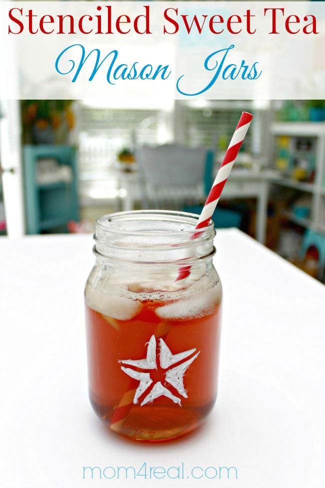 Stenciled Sweet Tea Mason Jars by Mom4Real