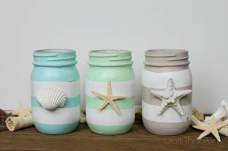 Striped Mason Jars By Craft That Party