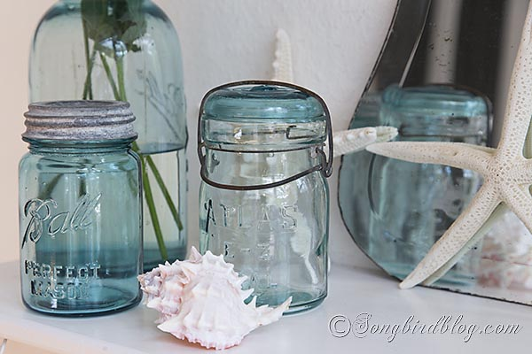 blue_mason_jars_beach_decorating by Songbird