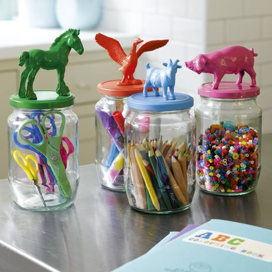 Mason Jars with Animal Figurines