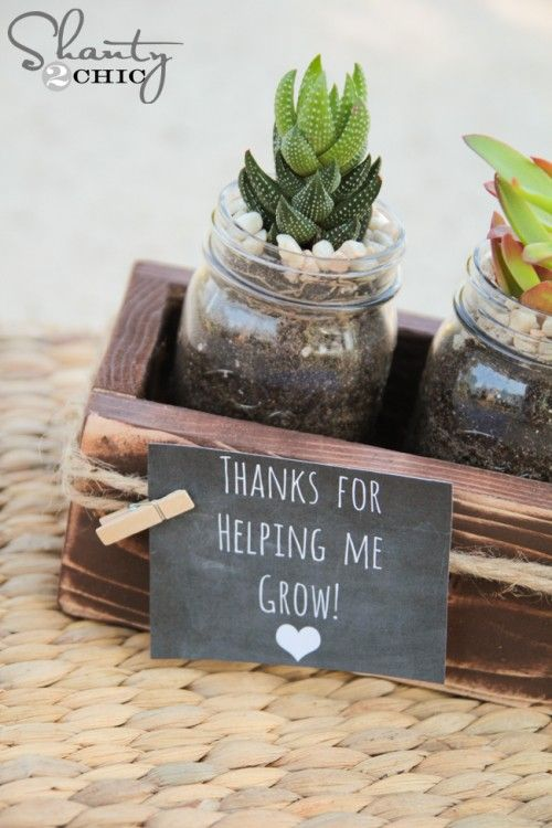 Succulent Mason Jar Teacher Gift by Shanty 2 Chic
