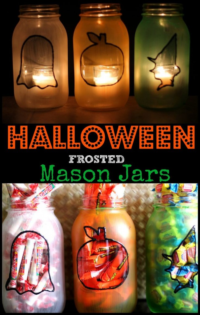 Halloween Frosted Mason Jars