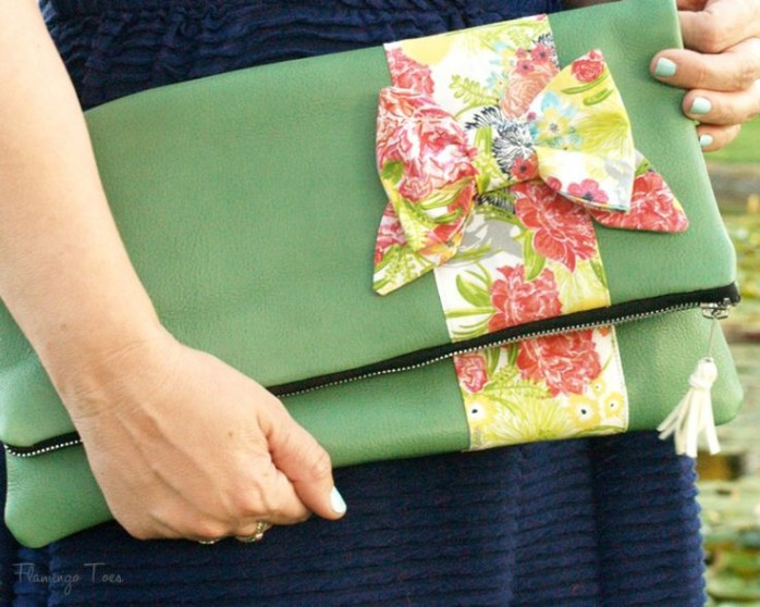 Leather Bow Fold Over Clutch