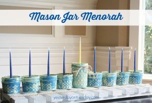 Rustic Mason Jar Menorah featuring DecoArt Chalky Finish Paint from http://yesterdayontuesday.com