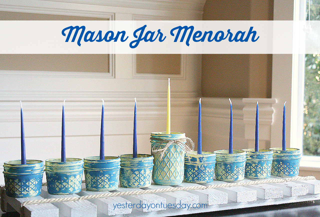 Mason Jar Menorah