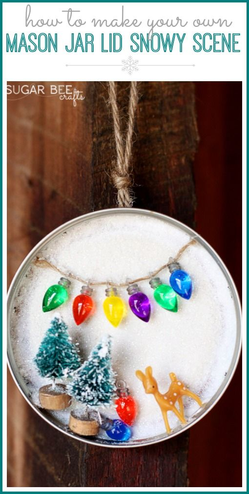 Mason Jar Lid Snowy Scene by Sugar Bee Crafts