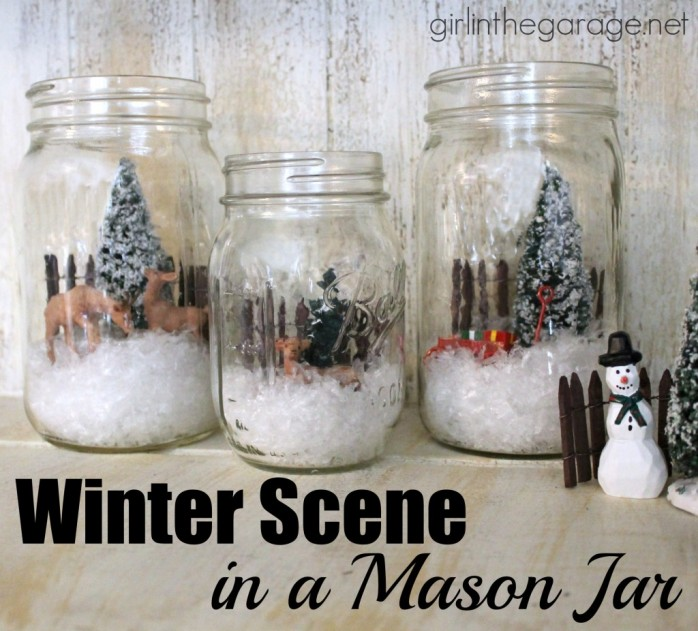 Mason Jar Winter Scene from Girl in the Garage