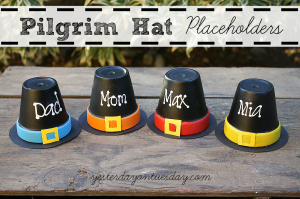Thanksgiving Pilgrim Hat Placeholders, fun and cute craft for kids from http://yesterdayontuesday.com