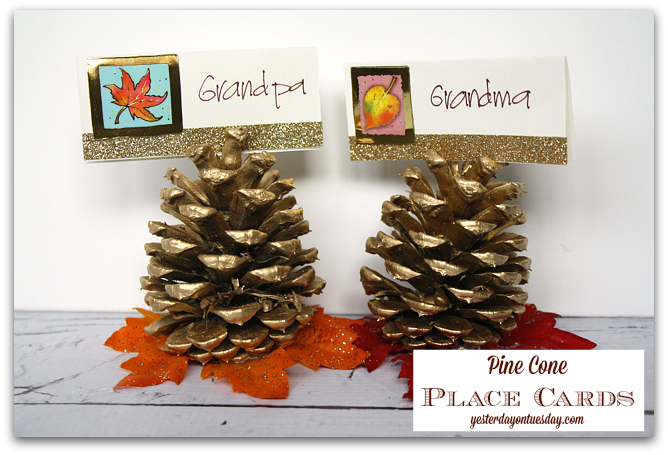 Fast and pretty Pine Cone Place Cards for Thanksgiving