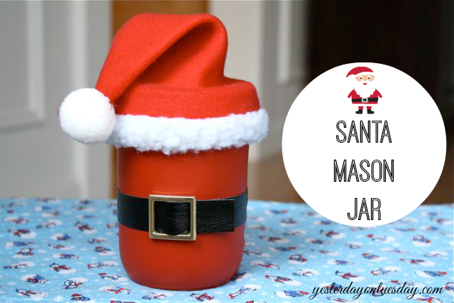 Cute Santa Mason Jar idea for Christmas by http://yesterdayontuesday.com