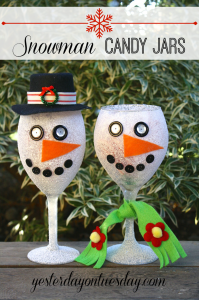 Transform a wine class into a charming Snowman Candy Jar. A quick and festive Christmas Gift from http://yesterdayontuesday.com.