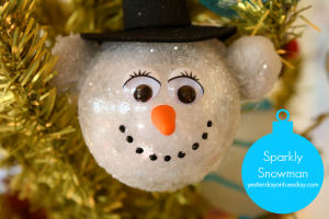 Create a Sparkly Snowman Ornament to hang on your Christmas tree from http://yesterdayontuesday.com
