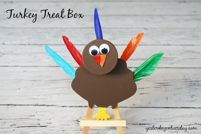 DIY a sweet Turkey Treat Box Thanksgiving craft from http://yesterdayontuesday.com