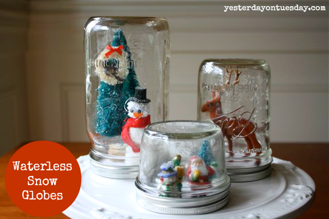 Mason Jar snow globes from Christmas from http://yesterdayontuesday.com