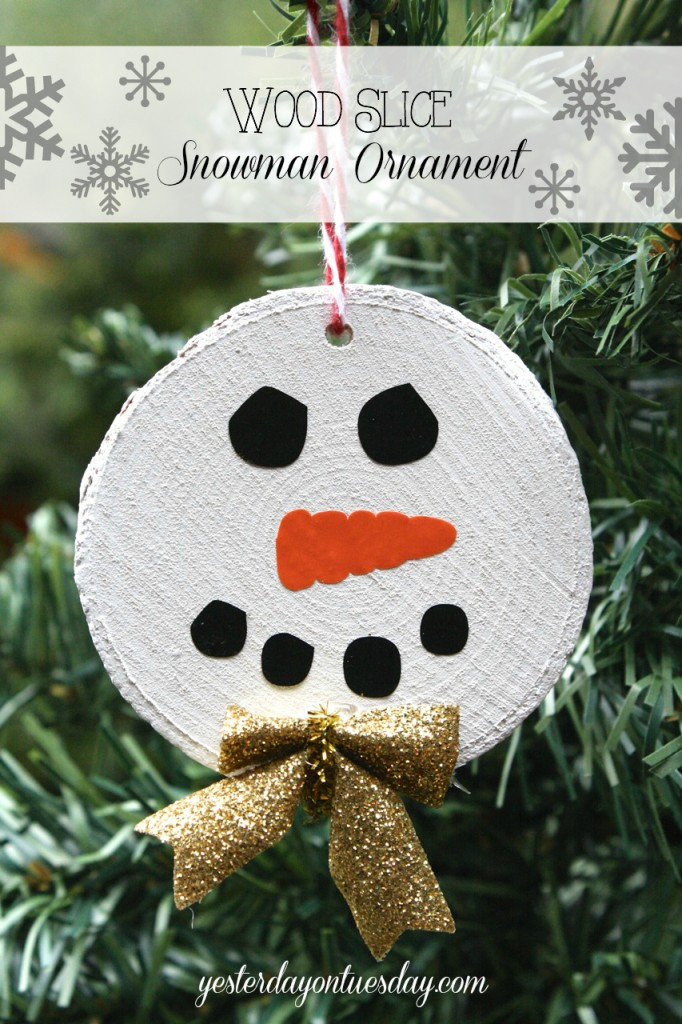 Wood Slice Snowman Ornament Yesterday On Tuesday