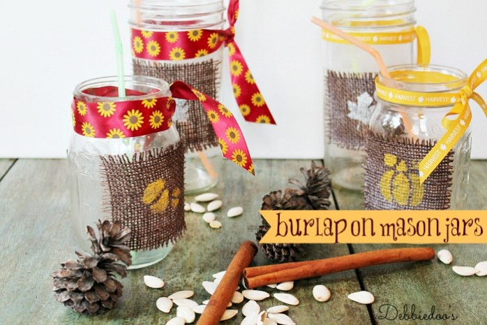 burlap-on-mason-jars-and-stenciled