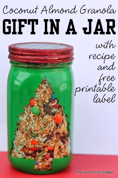 coconut almond granola gift in a jar with recipe and free printable label