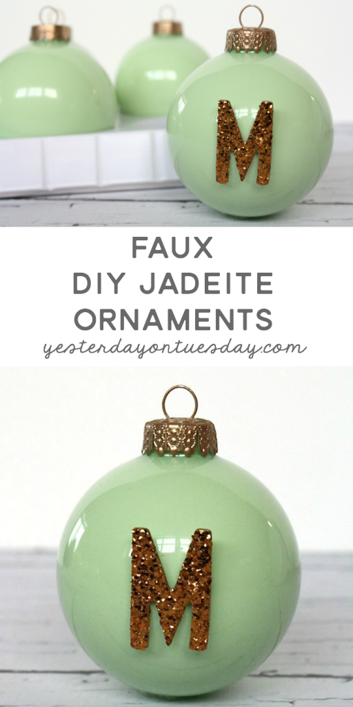Faux DIY Jadeite Ornaments: How to transform plain clear glass ornaments into gorgeous Faux Jadeite Ornaments for Christmas and the holiday season.
