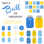 Hanukkah Mason Jar Printables including gift tags, a banner, labels and more from Yesterday on Tuesday.