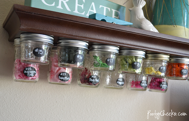 Mason Jar Storage Shelf from Poofy Cheeks