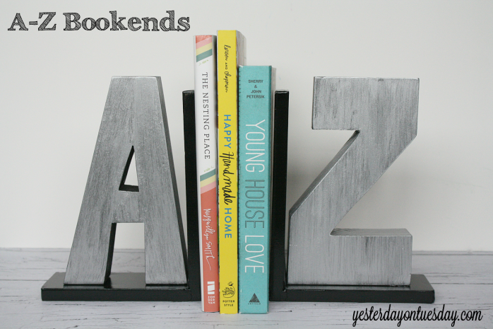 Transform wood letters into faux zinc A-Z bookends from http://yesterdayontuesday.com #organizing #storage