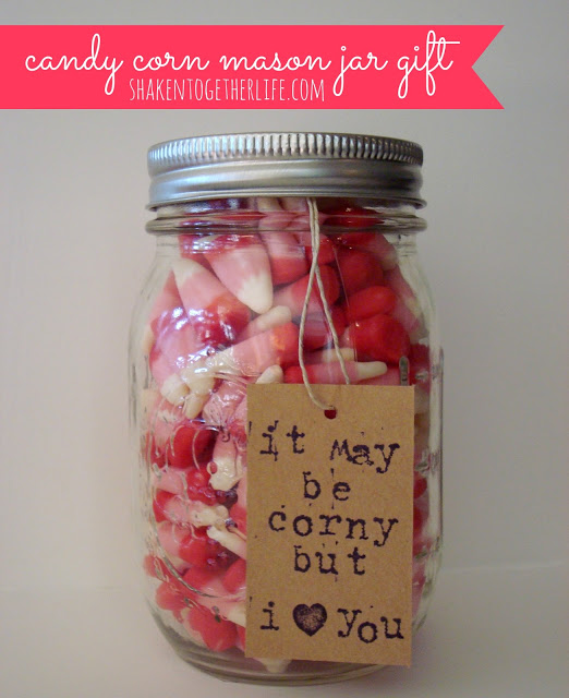 Candy Corn Valentine Mason Jar Gift from Shaken Together Life