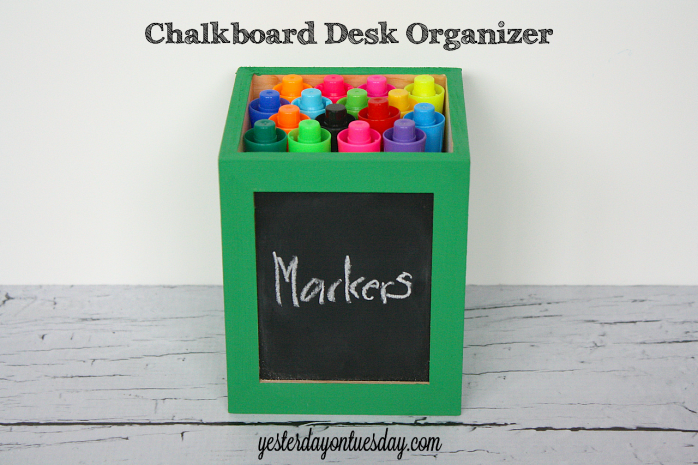 Chalkboard Desk Organizer from http://yesterdayontuesday.com #organizing