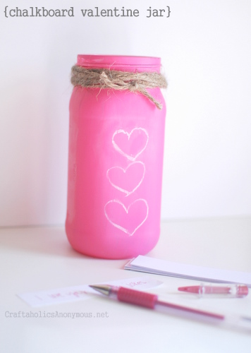 Chalkboard Valentine Jar from Craftoholics Anonymous
