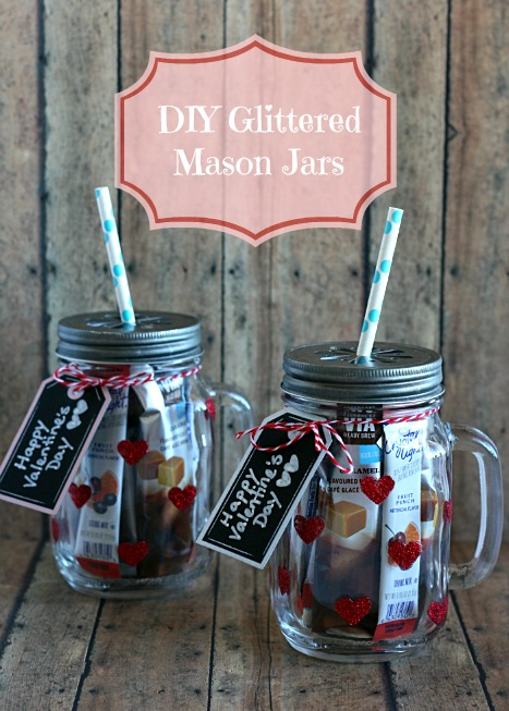 DIY Glittered Heart Mason Jars by Addicted2DIY