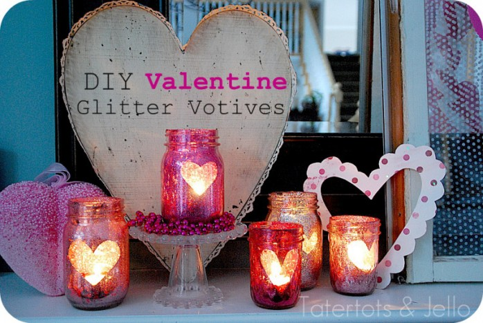 DIY Valentine Glitter Mason Jars by Tatertots and Jello