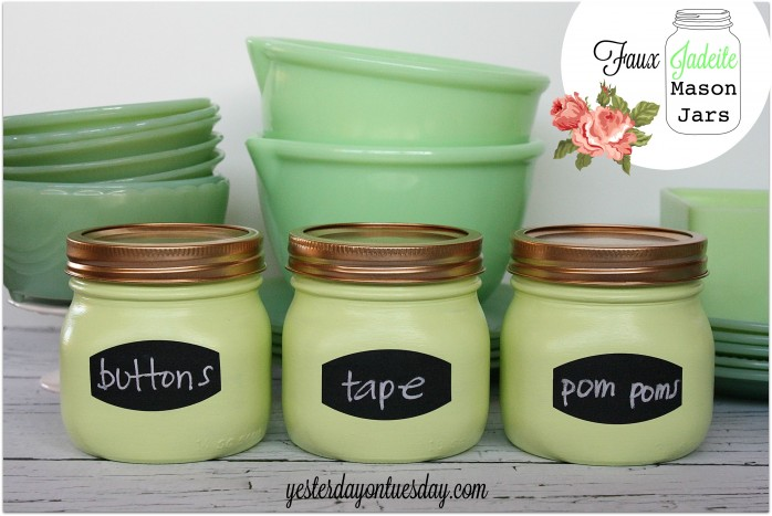 Faux Jadeite Mason Jars: Transform regular Mason Jars into lovely Faux Jadeite Jars from http://yesterdayontuesday.com. #masonjars #jadeite