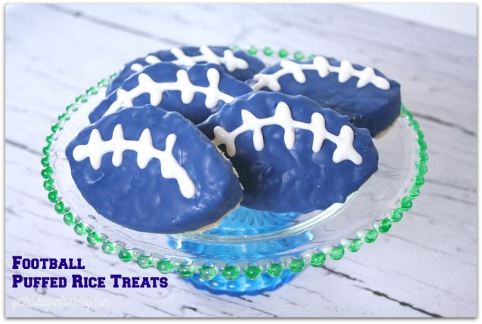 Football Puffed Rice Treats #seahawks
