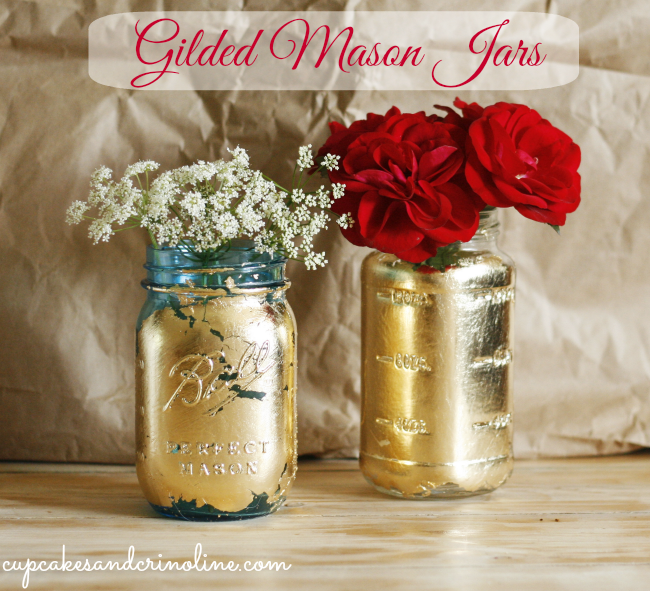 Gilded Mason Jars by Cupcakes and Crinoline
