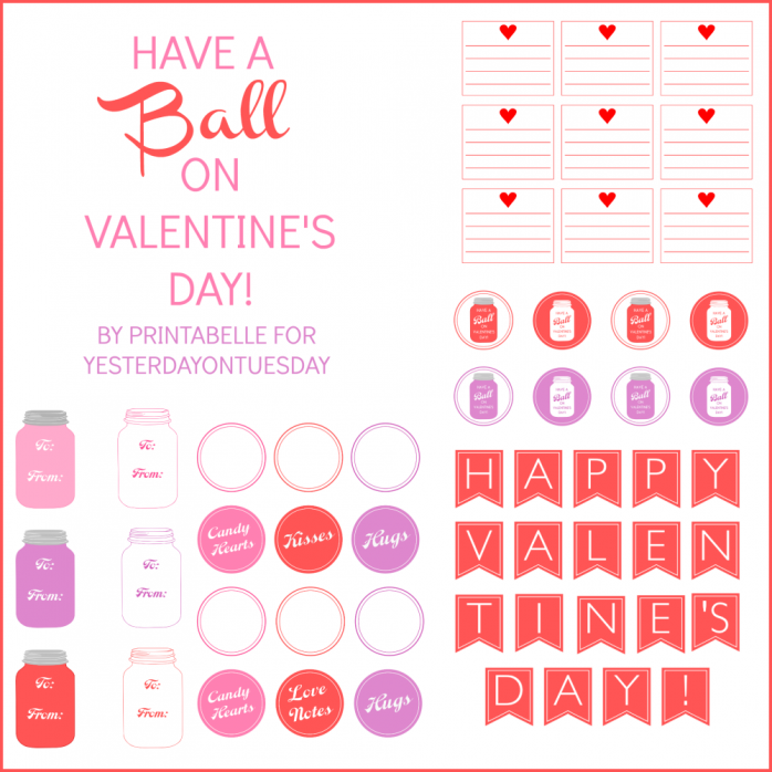 Mason Jar Valentine's Day Printables from http://yesterdayontuesday.com