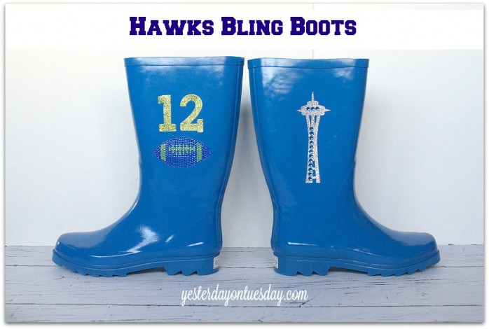 Upgrade plain rain books into Hawks Bling Boots #seahawks