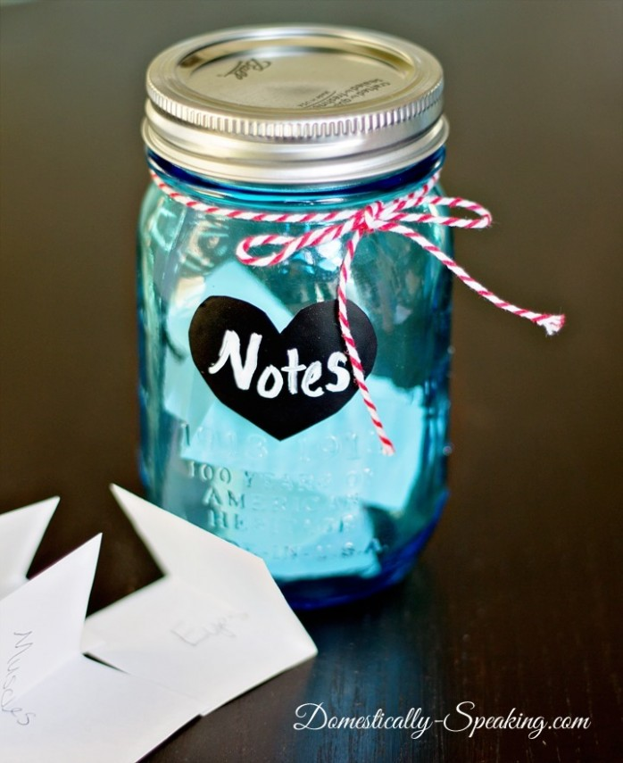 Love Notes Jar by Domestically Speaking via At The Picket Fence