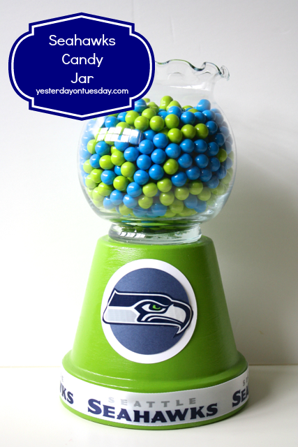 Seahawks Candy Jar from http://yesterdayontuesday.com #seahawkscrafts #footballcrafts