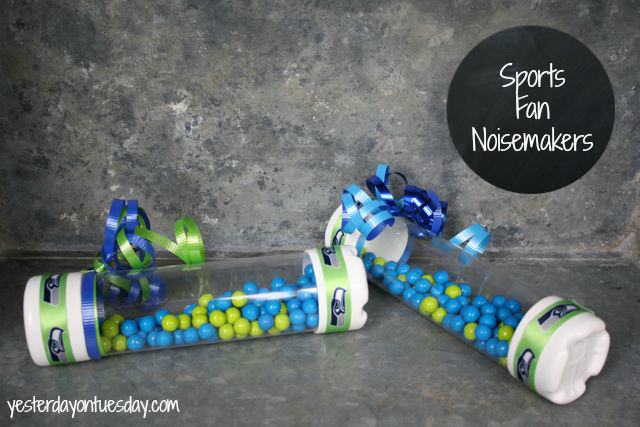Seahawks Noisemakers from http://yesterdayontuesday.com #seahawks #seahawkscrafts #footballcrafts