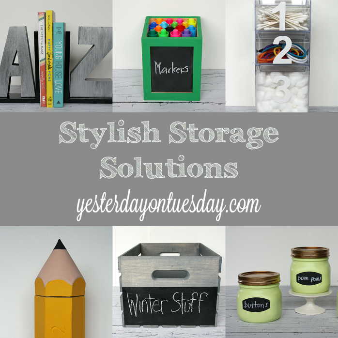 Stylish Storage Solutions for your desk, craft supplies, kids and home from http://yesterdayontuesday.com