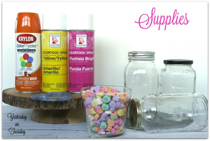Valentine Conversation Hearts Mason Jar Gift Idea from http://yesterdayontuesday.com