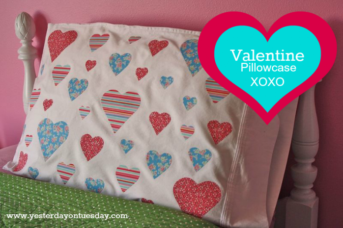 No Sew Heart Pillowcase or Valentine's Day from http://yesterdayontuesday.com
