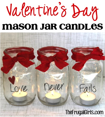 Valentine's Day Mason Jar Candles from The Frugal Girls