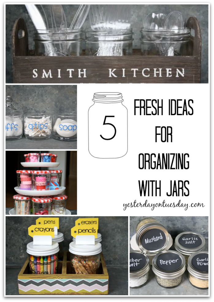 5 Fresh Ideas for Organizing with Glass Jars #glassjars #organizing