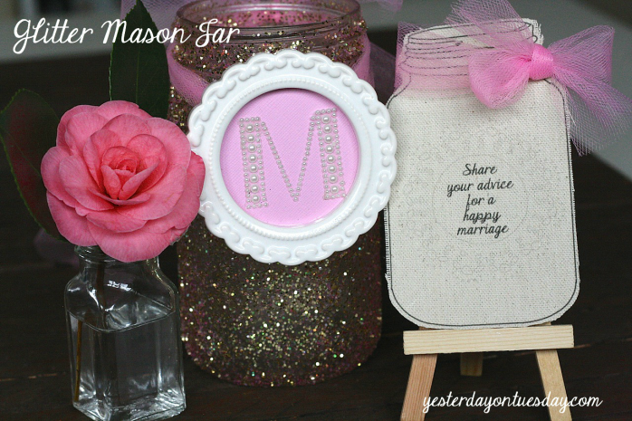 Glitter Mason Jar Tutorial and printable Mason Jar wedding sign and marriage advice cards