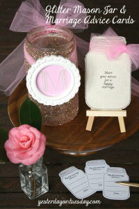 Glitter Mason Jar and printable Marriage Advice Cards