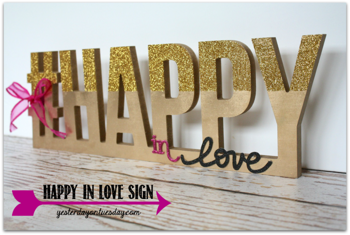 Happy in Love sign, perfect for Valentine's Day